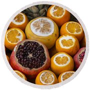 Juice Stand Fruits Round Beach Towel