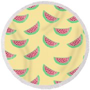 Juicy Watermelon Round Beach Towel by Allyson Johnson