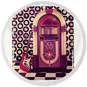 Juke Box Polaroid Transfer Round Beach Towel