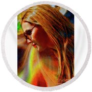 Julee Ross Carbon Girls Round Beach Towel