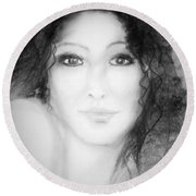 Julia In Black And White Round Beach Towel
