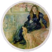 Julie Manet And Her Greyhound Laerte Round Beach Towel