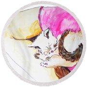 July Kitty In Rachaels Lap Round Beach Towel