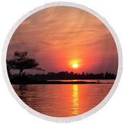 July Sunset At Detroit Point Round Beach Towel