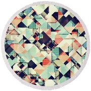 Jumble Of Colors And Texture Round Beach Towel