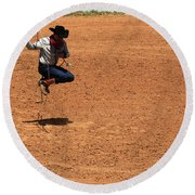 Jump Rope Cowboy Style Round Beach Towel