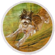 Jumping Dog Schlick 1908 Round Beach Towel