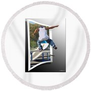 Jumping Out Of The Picture Round Beach Towel