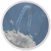 Jumping Over The Clouds Round Beach Towel