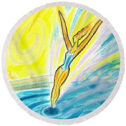 Jumping Right On Target Round Beach Towel