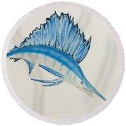 Jumping Swordfish  Round Beach Towel