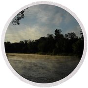 June Mississippi River Misty Dawn Round Beach Towel