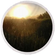 June Sunrise Over Dew On Grass Round Beach Towel