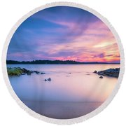 June Sunset On The River Round Beach Towel