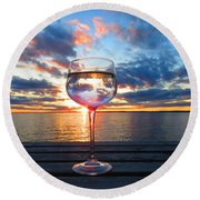 June Sunset Over Wolfe Island Round Beach Towel