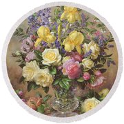 June's Floral Glory Round Beach Towel