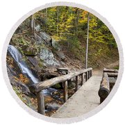 Juney Whank Falls And A Place To Rest Round Beach Towel