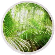Jungle Abstract 1 Round Beach Towel
