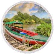 Jungle Boat Round Beach Towel