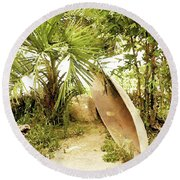 Jungle Canoe Round Beach Towel