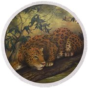 Jungle Cat Round Beach Towel