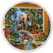 Jungle Coming Round Beach Towel