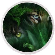 Jungle Eyes - Panther And Ocelot  Round Beach Towel