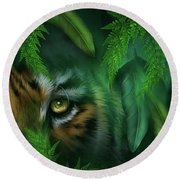 Jungle Eyes - Tiger And Panther Round Beach Towel