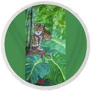 Jungle Jaguar Round Beach Towel