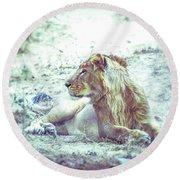 Jungle King Round Beach Towel