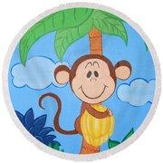 Jungle Monkey Round Beach Towel