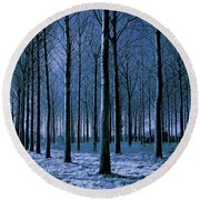 Jungle Trees In Blue  Round Beach Towel