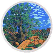 Juniper Trees And Deer Round Beach Towel
