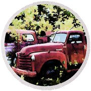 Junked Fire Engines Round Beach Towel