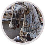 Junkyard Horse Round Beach Towel