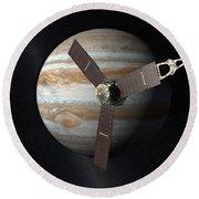 Juno Mission To Jupiter Round Beach Towel