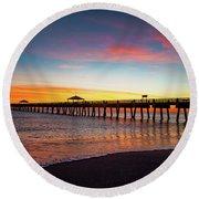 Juno Pier Colorful Sunrise Round Beach Towel