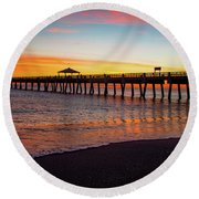 Juno Pier Colorful Sunrise Panoramic Round Beach Towel