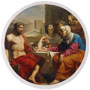 Jupiter And Mercury At Philemon And Baucis Round Beach Towel
