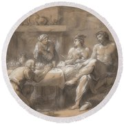Jupiter And Mercury In The House Of Baucis And Philemon Round Beach Towel