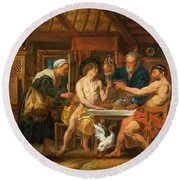 Jupiter And Mercury In The House Of Philemon And Baucis Round Beach Towel