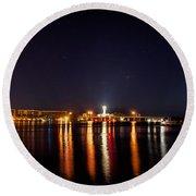 Jupiter Florida  Inlet Lighthouse At Night Round Beach Towel