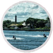 Jupiter Inlet And Lighthouse Round Beach Towel