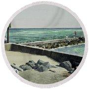 Jupiter Inlet Marine Marker One  Round Beach Towel