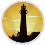 Jupiter Lighthouse Golden Sunrise Round Beach Towel
