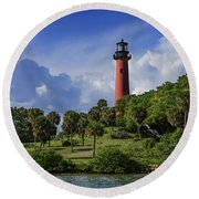 Jupiter Lighthouse Sq Round Beach Towel