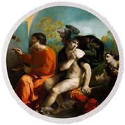 Jupiter Mercury And Virtue 1524 Round Beach Towel
