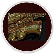 Jupiter Saxophone Round Beach Towel by Michelle Calkins