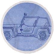 Jurassic Park Jeep Blueprint Round Beach Towel