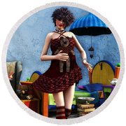 Just A Doll Round Beach Towel